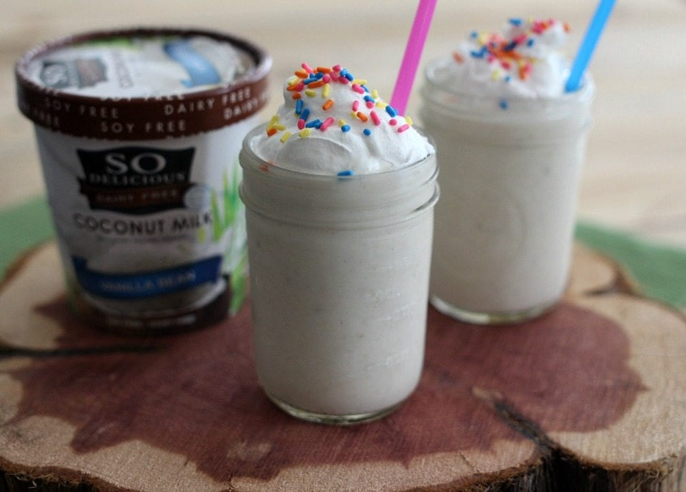 "This dairy free dessert is easy to whip up and the perfect milkshake alternative. When summer comes, you won't have to feel left out while everyone around you is indulging in ice cream. You can have your ""dairy"" treat too!"