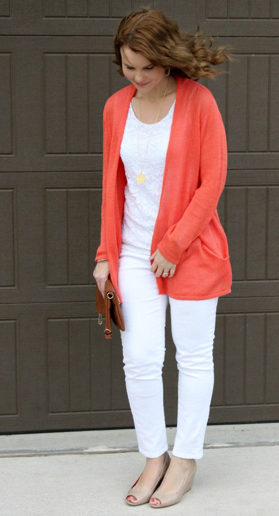 Spring outfit idea - nude patent wedges, white denim, white lace top and a coal cardigan.