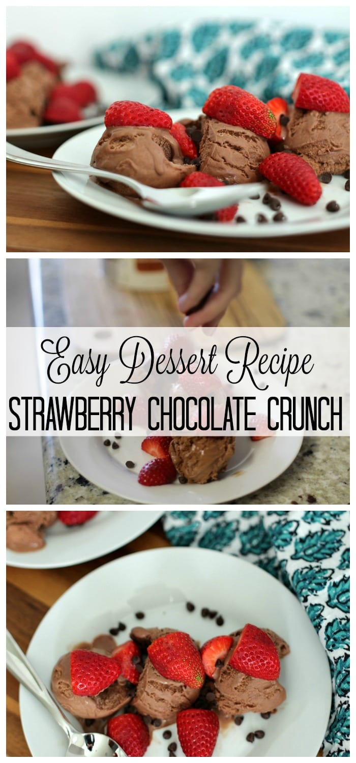 Let me introduce you to a dessert that has three elements to satisfy that evening sweet tooth. It's chocolatey, it's fruity, it has a nice crunch and probably the best thing about it – it's super easy! I'm talking about Strawberry Chocolate Crunch.
