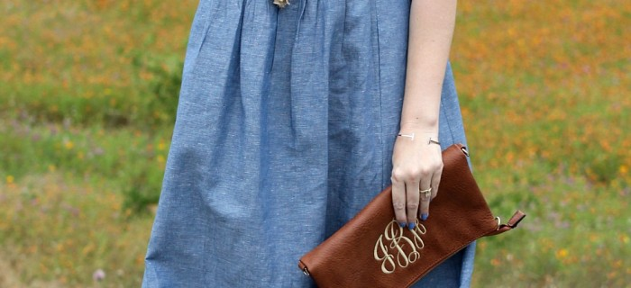 An Easy Throw On and Go Chambray Maxi Dress Outfit