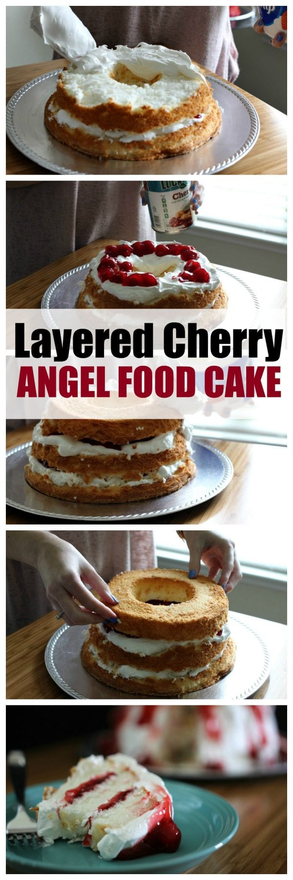 This Layered Cherry Angel Food Cake requires 3 ingredients and about 15 minutes of your time. It's easy, delicious and a crowd pleaser. If you're on the hunt for easy dessert recipes, this is for you. You can't go wrong with pie fillings, whipped topping and angel food cake! Click through to see a video with step by step instructions.