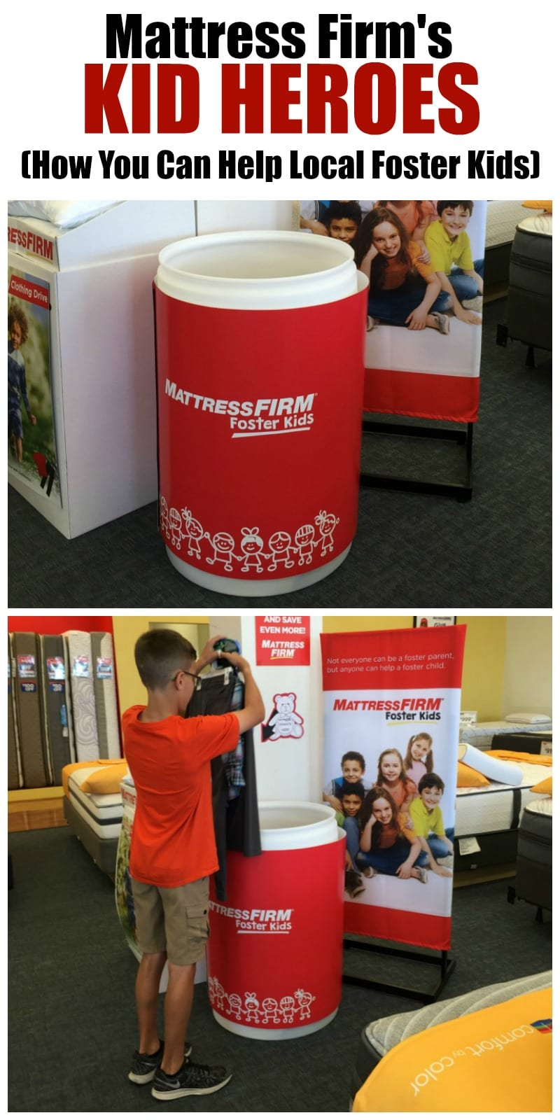 Make a difference by donating new clothing items to your local Mattress Firm store in support of their Foster Kids Program. Get your kids involved by entering them into their Kid Heroes contest. Find out all of the info on www.momfabulous.com. AD