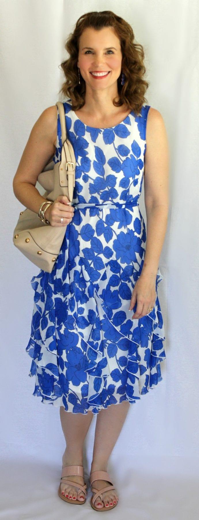Summer Dress: Royal Blue Floral Print Corkscrew Dress from Chadwicks.