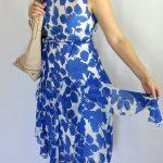 Royal Blue Floral Print Corkscrew Dress