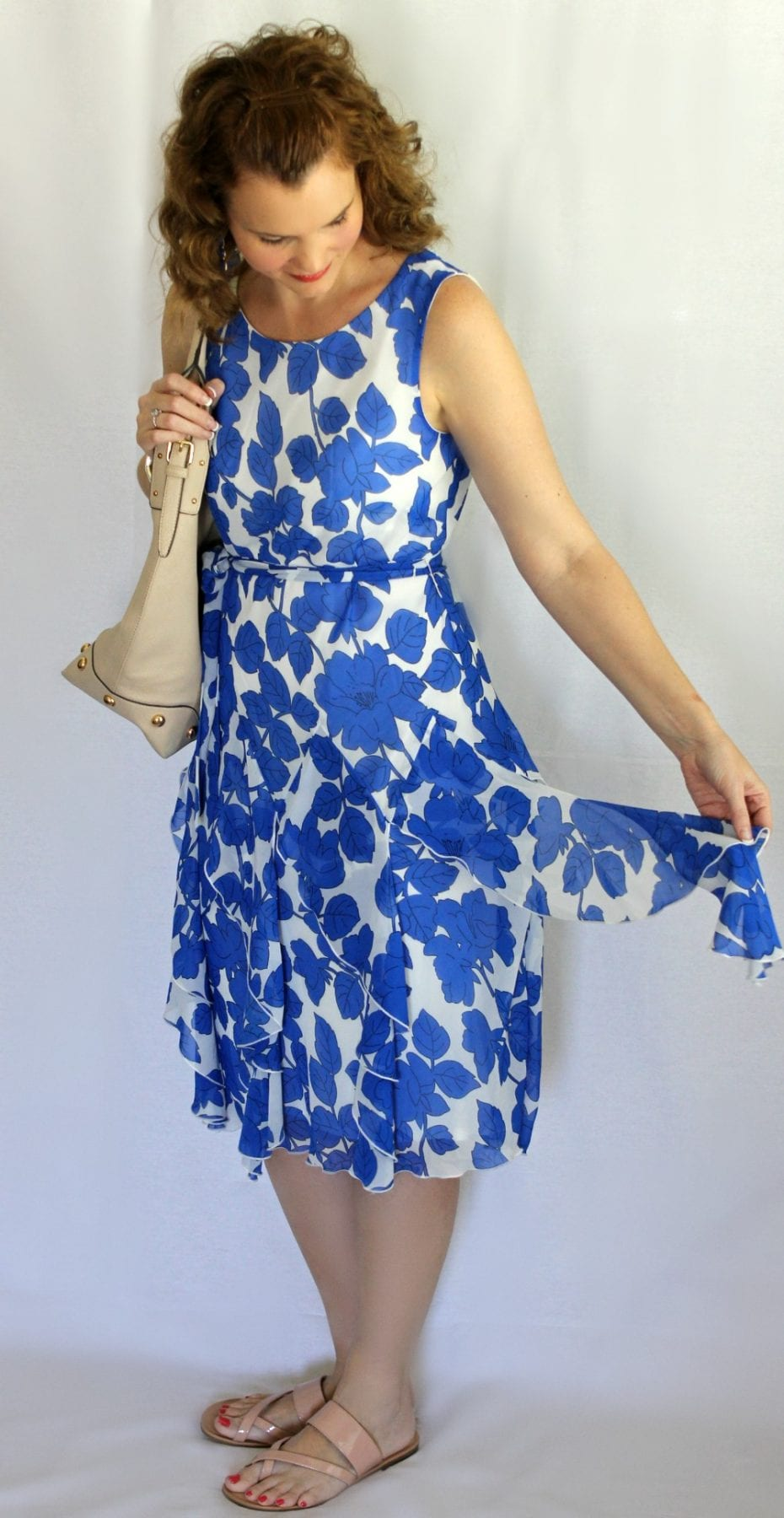Summer Dress: Royal Blue Floral Print Corkscrew Dress from Chadwicks.