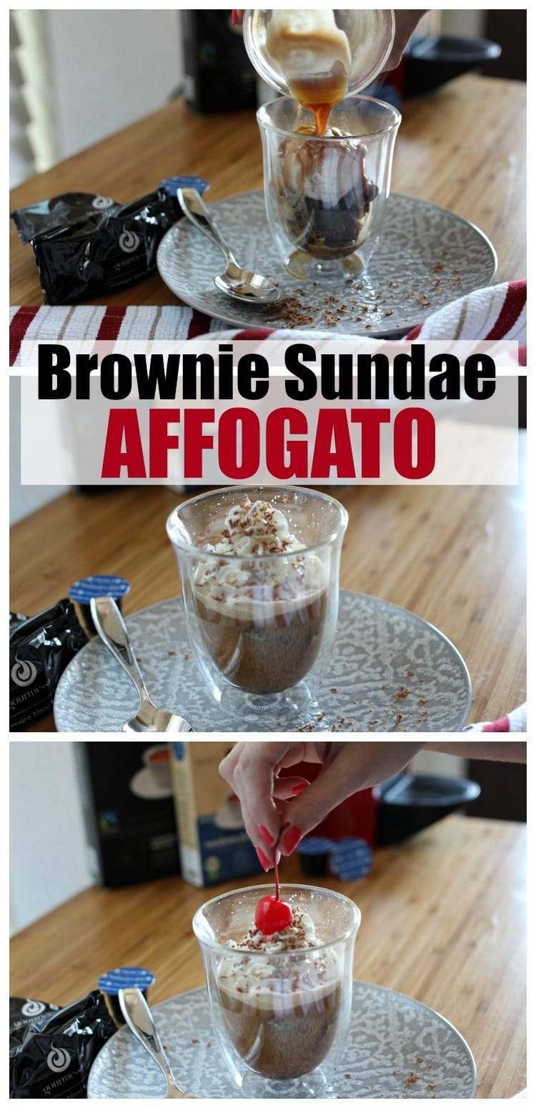 A twist on the Italian classic Affogato recipe: Brownie Sundae Affogato. Made with brownie bites, ice cream, whipped cream, chocolate shavings and a cherry on top. Affogato desserts are the perfect way to end a meal on a warm day.