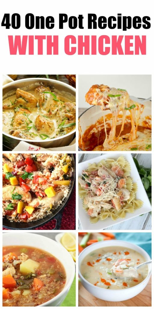 These 40 one pot recipes with chicken are easy to prepare and require little clean up afterwards. They use easy to find ingredients like pasta and rice and are a complete meal. I always make sure I have a couple of these in my weekly meal plan.