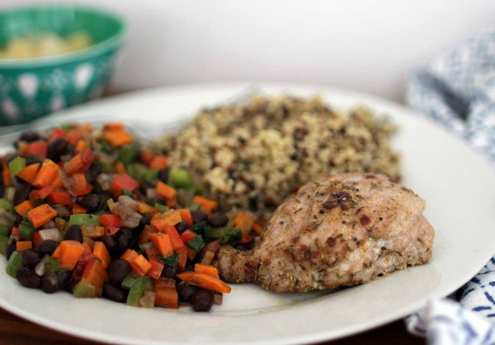 How does a meal that's filling, beautiful in color and full of incredible flavors sound? In a cooking class I took, as well as any nutrition book I've ever read, they talked about the importance of filling your plate with color and if you do so, you pretty much know you have a great meal prepared.  This Jamaican Jerk Pork Tenderloin with quinoa pilaf, and black beans and vegetables is the perfect balance of a little spice and a lot of color.
