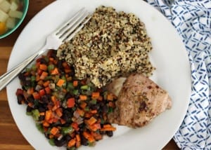 Jamaican Jerk Pork Tenderloin with Quinoa Pilaf, Black Beans and Vegetables