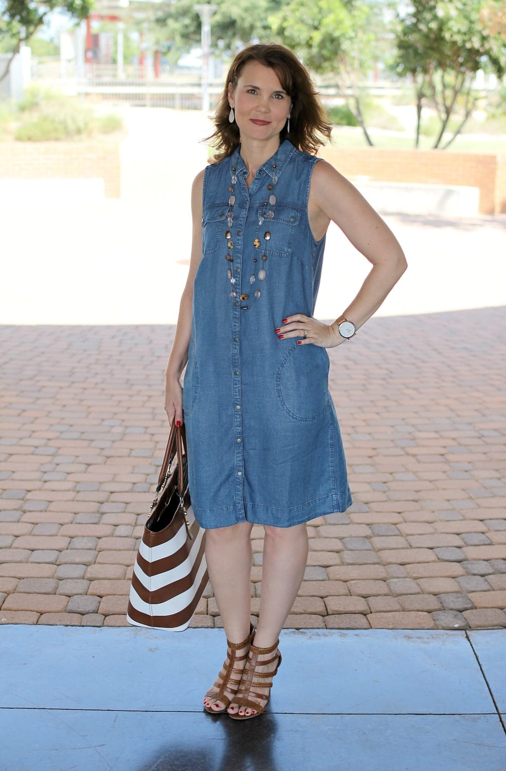 A versatile denim dress outfit that's perfect as your go-to summer dress.