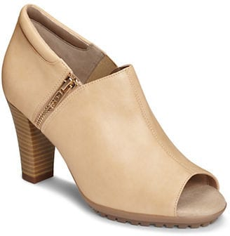 nude peep toe booties