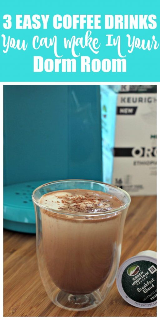 These three easy coffee drinks you can make in your dorm use easy to find ingredients and can be whipped up in a jiffy. Sending your college kid off to school with a Keurig, Green Mountain Coffee K-Cups and some coffee drink recipes will give them some of the comforts of home.