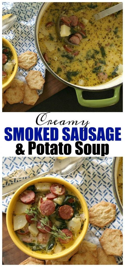 This Creamy Smoked Sausage and Potato Soup is not only incredibly tasty and easy to make, but it's ready in just under 30 minutes, making it perfect for those cold and busy week nights. From the bold flavor of the sausage to the soul warming broth and creamy texture from the milk & cream, what's not to love?