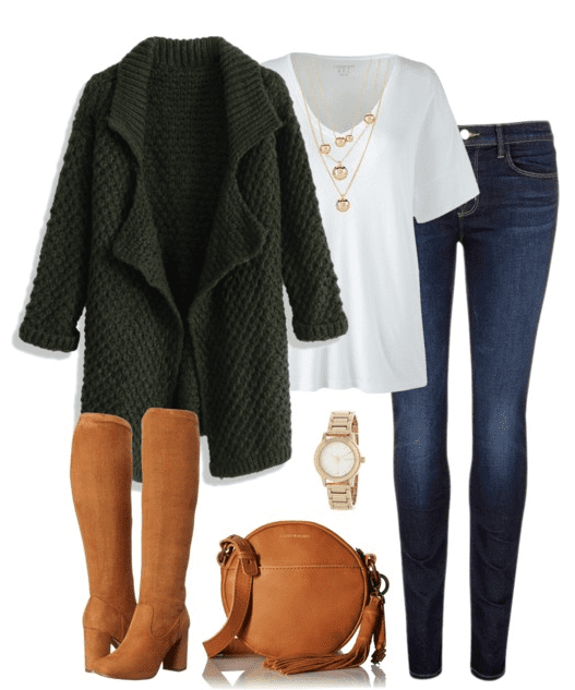 Fall outfit idea - Pair your favorite denim with a white tee, big cardigan, knee high boots and crossbody handbag.