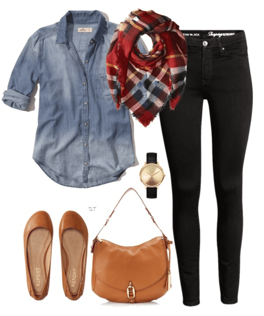 Fall outfit idea - Black denim, chambray button down, blanket scarf, flats and a hobo handbag.