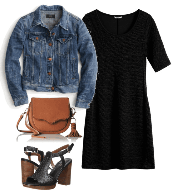 Fall outfit idea - pair your favorite LDB with a denim jacket, black platform sandals and a brown saddlebag handbag.