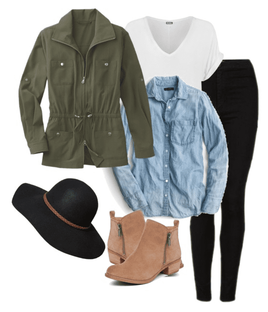 Fall outfit idea - Black denim, white tee, chambray button up, olive jacket, ankle boots and a black wool hat.