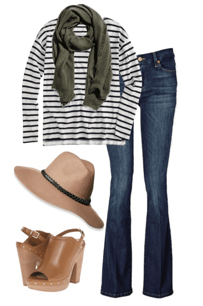 Fall outfit idea - Flared denim, black and white striped shirt, olive scarf, platform sandals and a wool hat.
