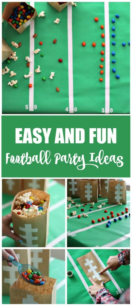 Are you ready for football season?! These football party ideas are easy and create one fun atmosphere. From a popcorn snack mix with Game Day M&Ms and the easy DIY snack bags to serve it in, to the game day table you can put together in about 30 minutes; these ideas are Game Day approved.