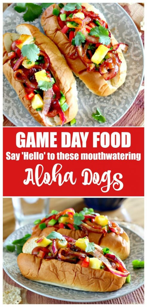 These Aloha Dogs are the perfect Game Day food. Gather up the football fans, turn on the TV and get ready for everyone to inhale these mouthwatering and super easy to prepare Hawaiian hot dogs.