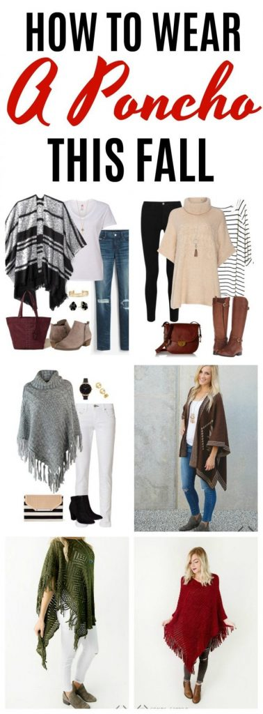 Are you looking for ideas on how to wear a poncho this fall? These poncho outfit ideas feature several different patterns and styles of ponchos, plus pairs them with three different colors of denim. A poncho is such a fun addition to your fall wardrobe.
