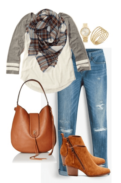 Fall outfit idea - Pair distressed boyfriend jeans with a baseball tee, plaid blanket scarf, ankle boots and a brown leather handbag.