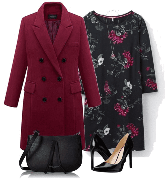 Dressy fall outfit - Give your outfit a punch with a brightly colored winter coat. Wear it over a floral sheath dress and heels.