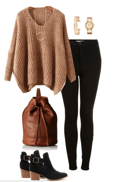 Fall outfit idea - Camel and black are two colors made for each other. Pair your favorite black denim with a chunky sweater in camel, ankle boots and a brown bucket bag.