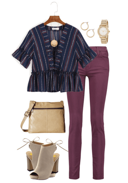 Fall outfit idea: Navy and burgundy together is a fun fall trend. Pair burgundy denim with a navy blue patterned top and nude wedges.