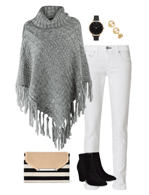 Poncho outfit idea for fall - pair a gray poncho with white denim for a different look for fall.