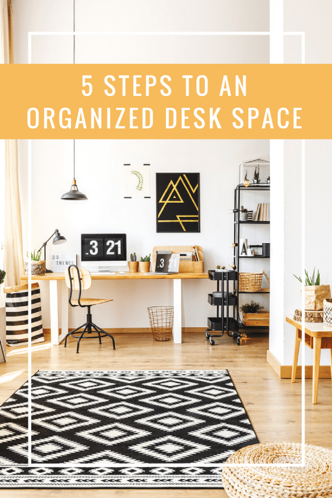 If you're in need of an organized desk space, these five steps will help get you there. It's time to stop drowning in unnecessary papers and other random items and create a space that works for you and not against you. Let's do this. #organize #organizeddesk #deskspace #getorganized