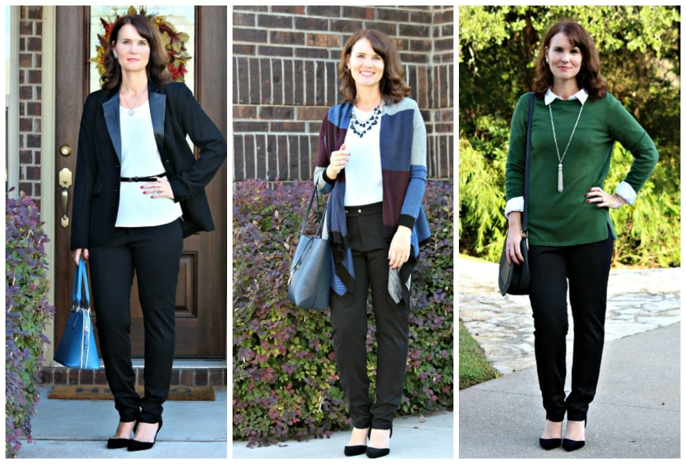 Are you looking for a black pants outfit for work? I have three ideas for you featuring a sweater/shirt combo, cardigan and wool blazer.