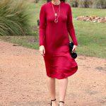 The Remi Long Sleeve Swing Dress in Burgundy