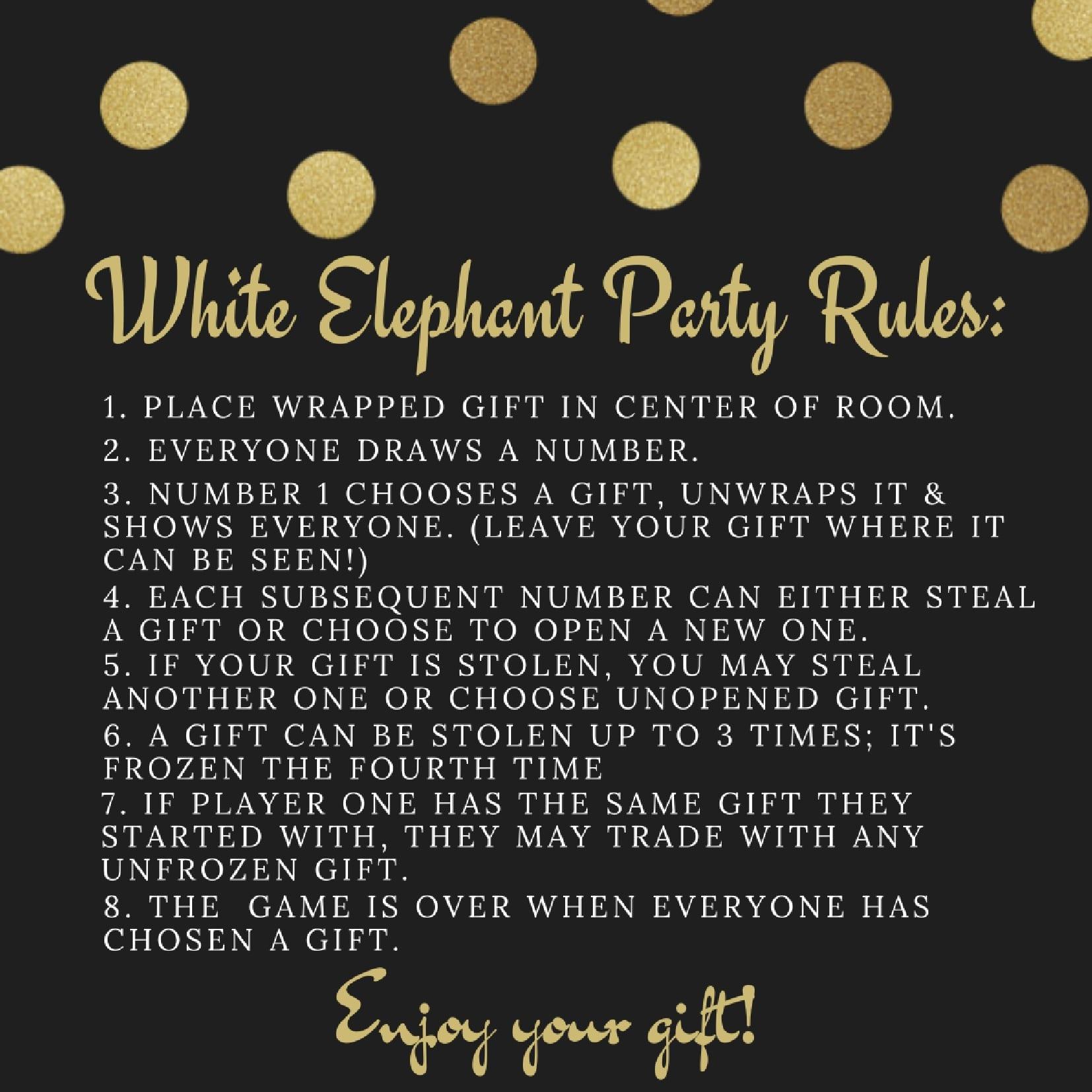 Peaceful image regarding white elephant rules printable