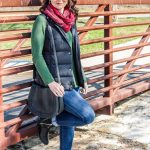 A Casual Holiday Outfit // Green Sweater, Black Puffer Vest and Red Scarf