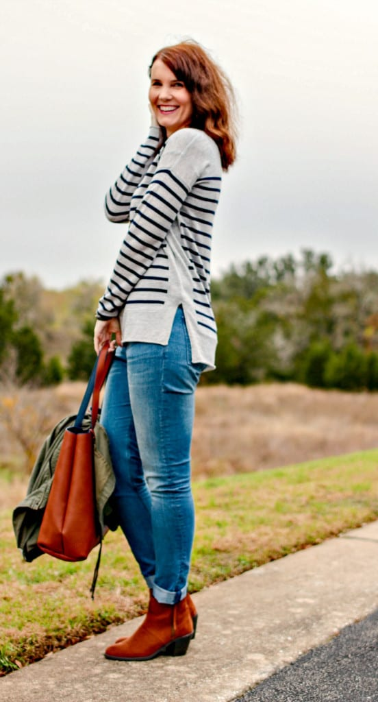 Stitch Fix outfit: Striped sweater, olive military style jacket, light wash denim, brown ankle boots and reversible tote.