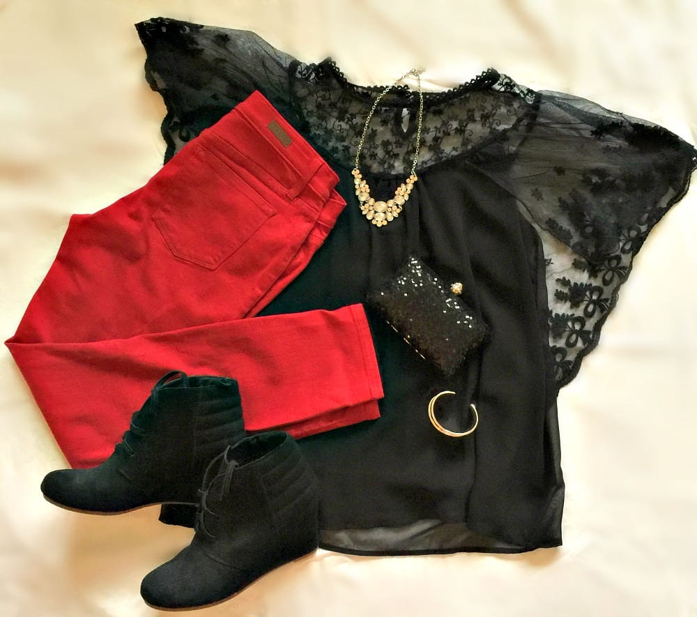 Stitch Fix Outfit: Red jeans, black top, black ankle boots