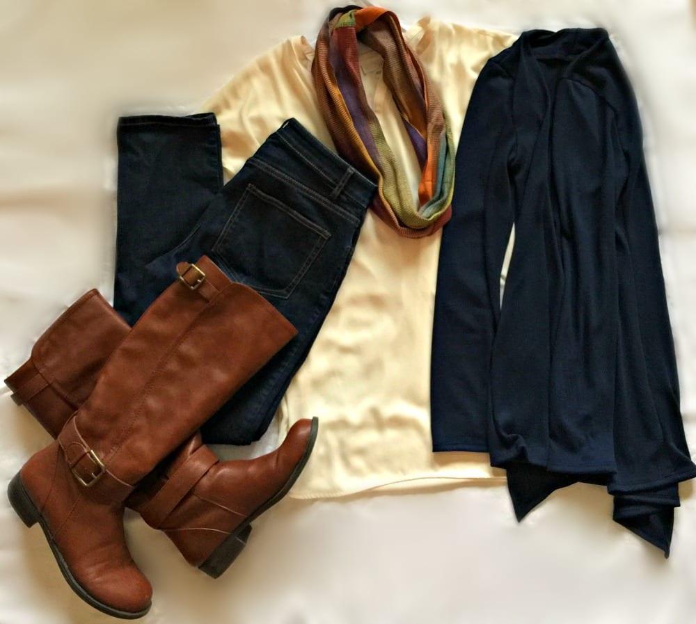 Stitch Fix outfit: Navy Blue cardigan, cream cardigan, dark denim, scarf, brown riding boots.