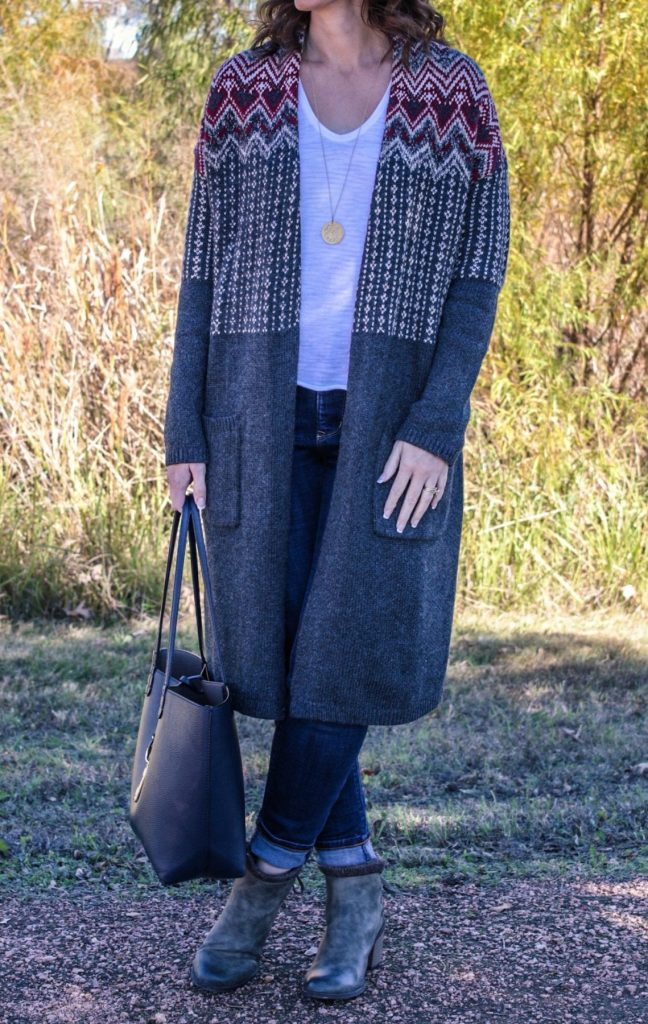 Fall and winter fashion for moms - what do you wear when it's too warm for a coat? A topper from J Jill! I love these and have two of them in my wardrobe. They are easy to wear and perfect to throw on and go for those days when the weather is crazy in the south. Hello 80 degree fall days.