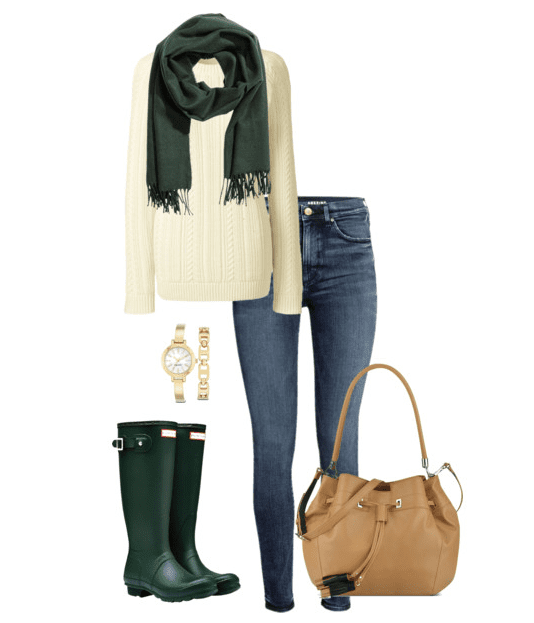 Green Hunter Boots Outfit: No matter if it's raining or snowing, these Hunter boot outfit ideas will keep you warm, dry and stylish.