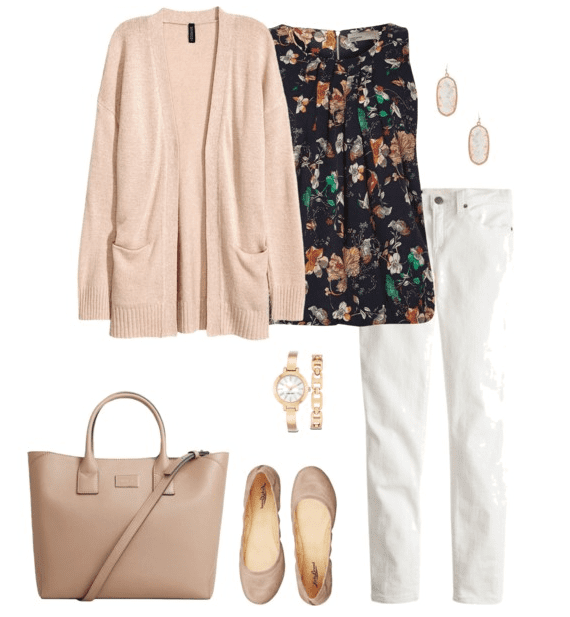Cardigan Outfit Idea for Spring - Cardigan, Floral Blouse, White Denim, Ballet Flats