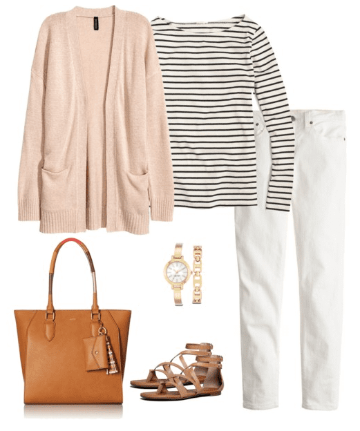 Cardigan Outfit Idea for Spring - Cardigan, Striped Shirt, White Denim, Sandals