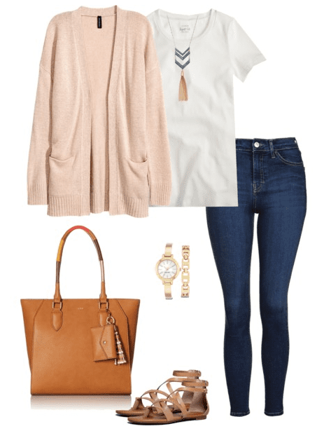 Cardigan Outfit Idea for Spring - Cardigan, White t-shirt, denim, sandals