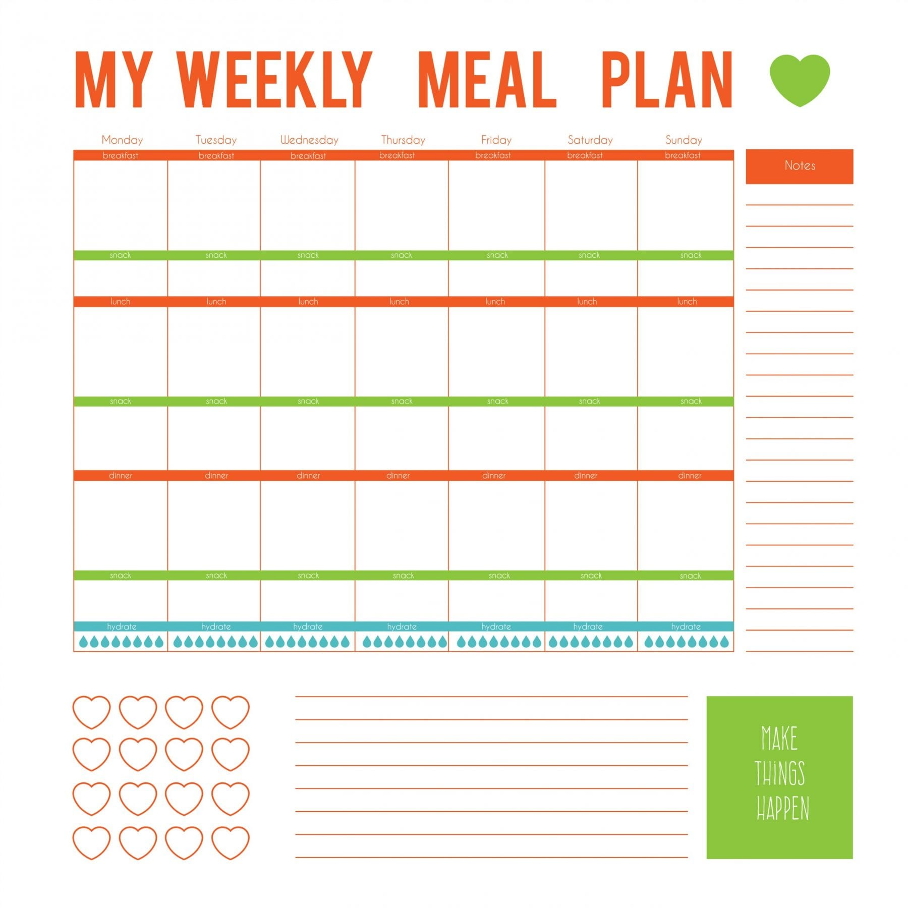 It's just an image of Clean Free Printable Meal Plan Template