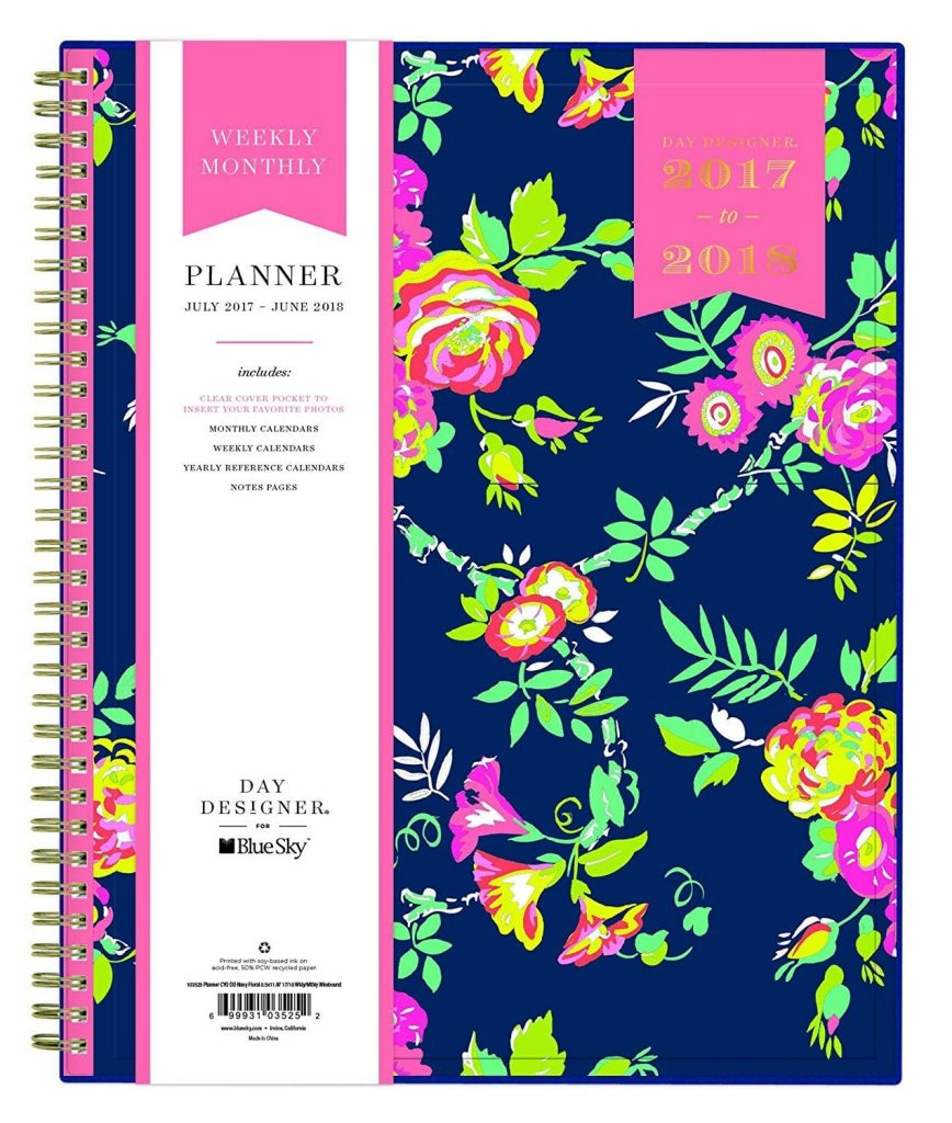 "Best new planners for 2017 - 2018: Day Designer for Blue Sky 2017-2018 Academic Year Weekly & Monthly Planner, Wire-O Binding, 8.5"" x 11"", Navy Floral"
