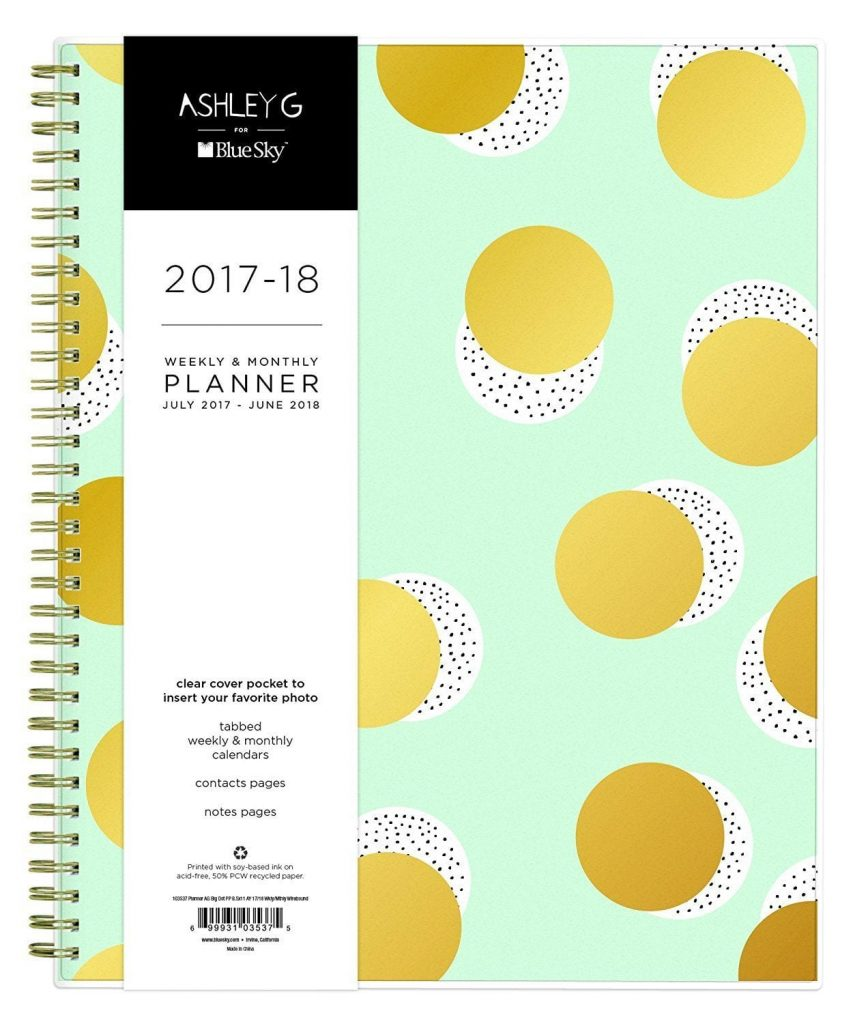 "Best new planners for 2017 - 2018: Ashley G for Blue Sky 2017-2018 Academic Year Weekly & Monthly Planner, Wire-O Binding, 8.5"" x 11"", Big Dot Design"