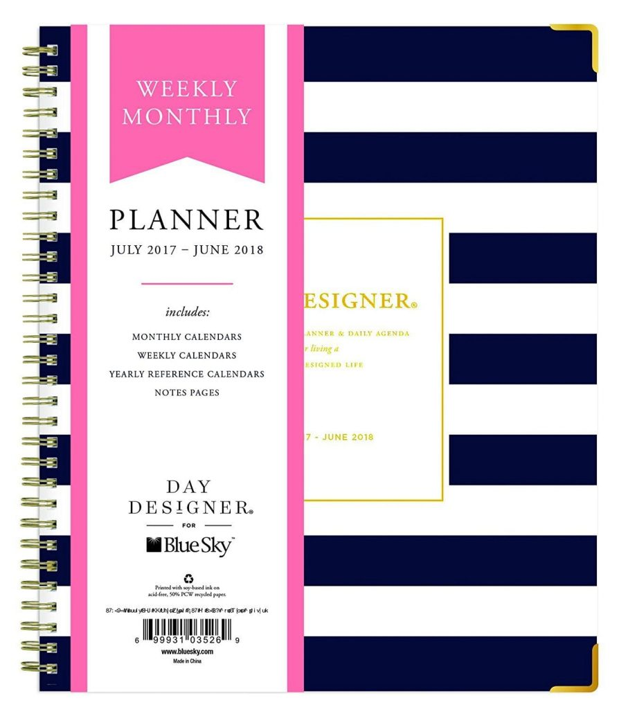 "Best new planners for 2017 - 2018: Day Designer for Blue Sky 2017-2018 Academic Year Weekly & Monthly Planner, Wire-O Binding, 8"" x 10"", Navy Stripe Hardcover"