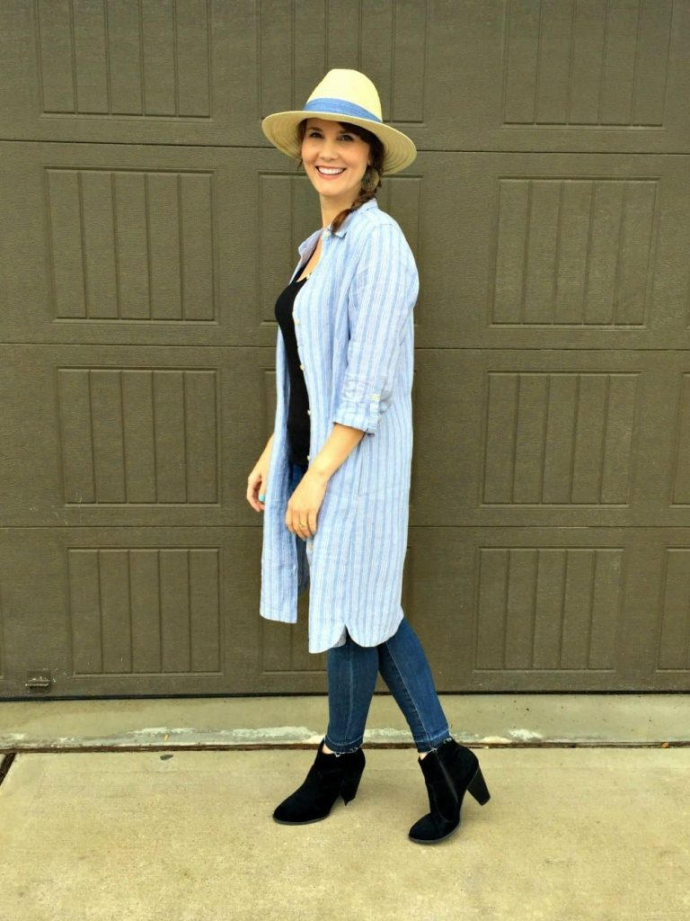This linen shirt dress is comfortable, looks great on everyone and can be worn many different ways. See how I styled it to create three different looks.