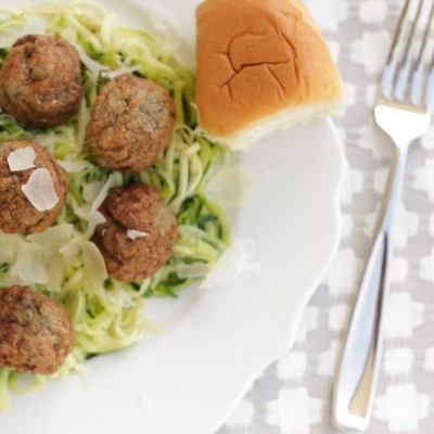 Garlic Butter & Parmesan Zoodles with Turkey Meatballs Recipe