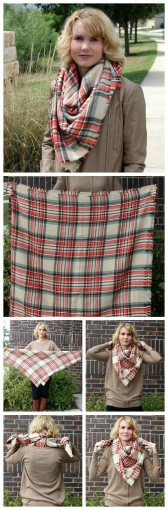 How to tie a blanket scarf: Blanket scarves are exactly what the name implies: they are HUGE. They're cozy, great for those insanely cold days and can even be used as a shawl in a pinch.